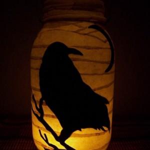 Primitive Folk Art Crow Lantern Candle Holder