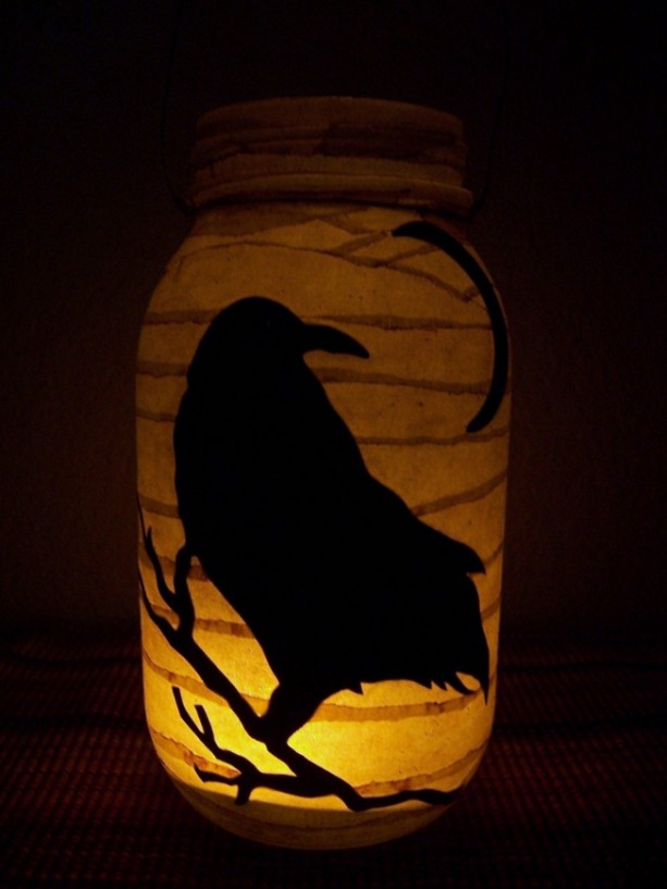 Primitive Folk Art Crow Lantern Candle Holder