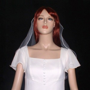 """Satin Cord  Veil Shoulder Length 24""""   rattail cord veil available in White, Light Ivoy and Ivory"""