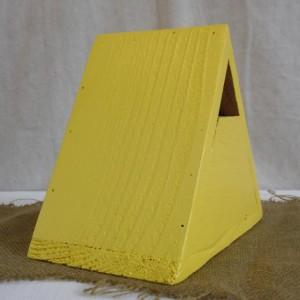 Yellow Birdhouse, Yellow Cedar Triangle Birdhouse, Yellow Birdhouse, Cedar Bluebird House, Painted Cedar Birdhouse