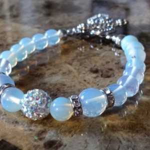 Moonstone Bracelet With Pave Crystal Ball and Toggle Closure
