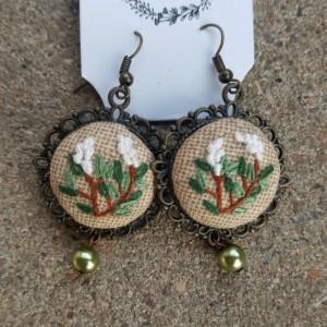 emroidered green earrings