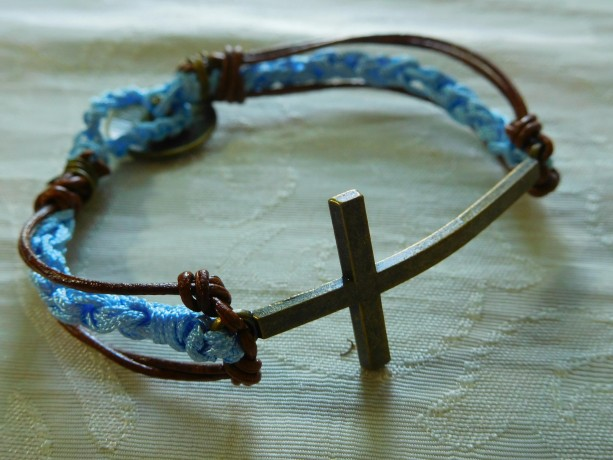 Natural leather & blue silk cord crochet bracelet with bronze tone Cross connector finishing with decorative bronze button #B00215