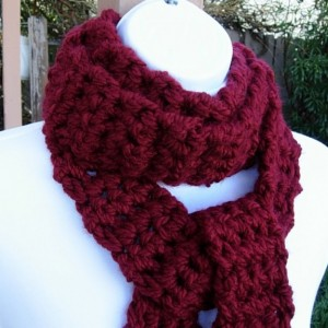 Long & Skinny Scarf, Dark Solid Red, Extra Soft Thick Crochet Knit Narrow Chunky Bulky Winter Women's 100% Acrylic Neck Scarf, Ready to Ship in 3 Days