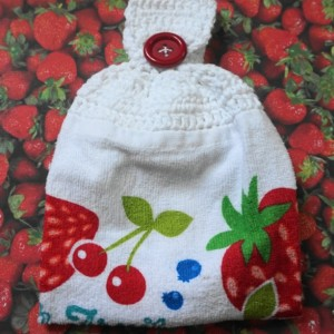 Fresh Strawberry Fruit Crochet Top Kitchen Towel, Set of 2