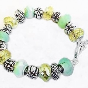 European Style Beads Tibetan Charm Bracelet, Mint Green Jewelry, European Charm Bracelet, Spring Jewelry, Jewellery Accessories, On Sale