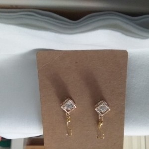 Diamond shape white silver charm earrings