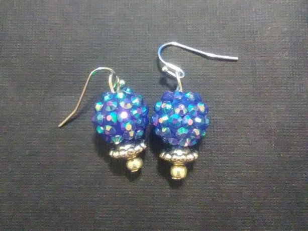 Blue Snowball Razzleberry Earrings