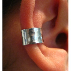 Crescent Moon and Star Sterling Silver Ear Cuff