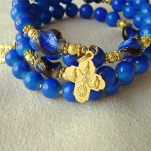 Rosary Bracelet of Cobalt Blue Beads and Gold