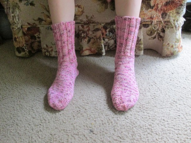 Hand Knit Adult Winter Socks- Cherries Jubilee