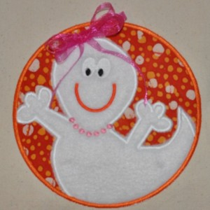 Ghost Halloween Embroidery Applique Tote / Trick or Treat Bag