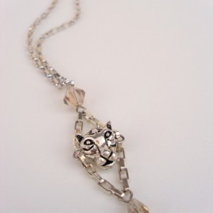 Shiny Silver Tiger Drop Necklace