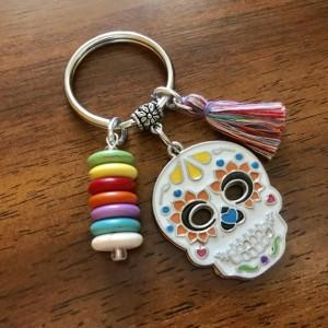 Sugar Skull Keychain, Sugar Skull Key Ring, Day of the Dead, Dia De Los Muertos, Calavera, Bag Charm, Purse Charm, Skull, Gift for Her