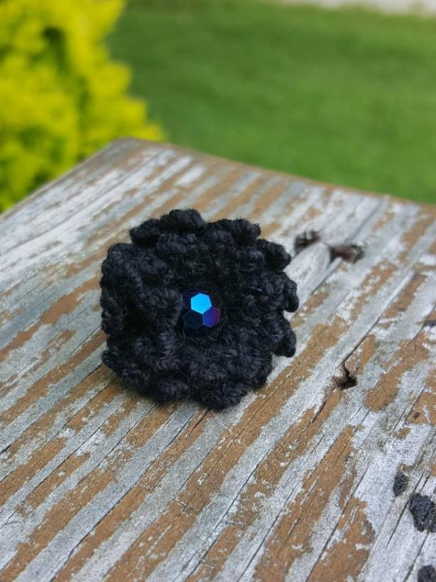 Flower Ring - Statement Ring - Black - Crochet - Boho Ring