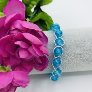 "7"" Silver and Aqua Braided Bracelet"