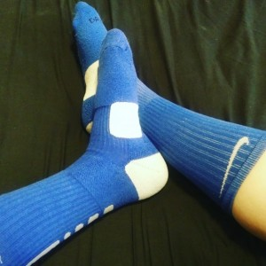 Well Worn Blue and White Nike Knee Highs