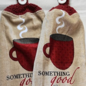 Brewing Coffee Crochet Top Towel