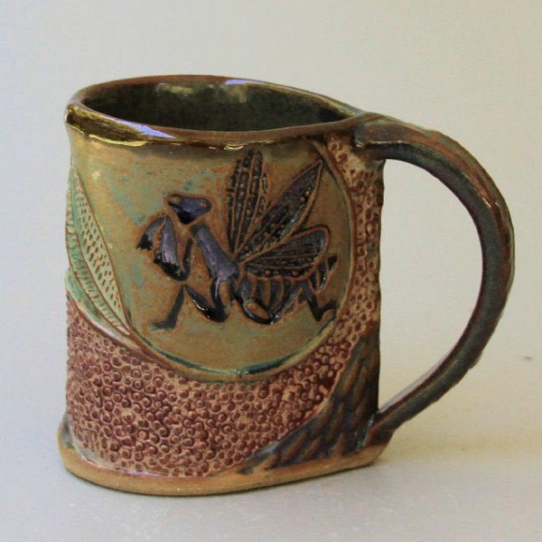Praying Mantis Pottery Mug Coffee Cup Handmade Stoneware Functional Tableware Microwave and Dishwasher Safe 12 oz