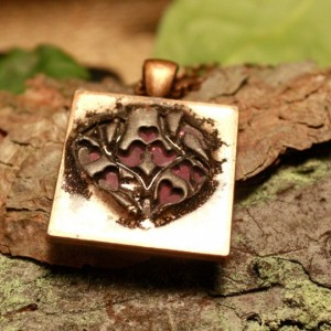 Purple love birds in copper pendant with necklace