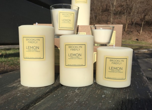 Lemon Candles. FREE SHIPPING. Scented Soy. Set of 3.