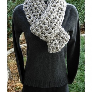 Light Gray and White CROCHET INFINITY SCARF Loop Cowl, Thick Chunky Soft Warm Winter Women's Circle Endless Knit, Ready to Ship in 3 Days