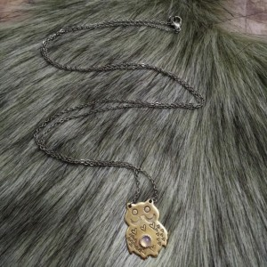 Mother Owl and Lavender Chalcedony Egg Necklace