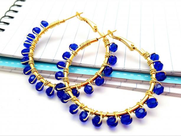 Snorkel Blue Gold Hoop Earrings, Wire Wrapped Beaded Hoops, Boho Jewelry Gift Idea for Girlfriend Best Friend Coworker Birthdays Anniversary