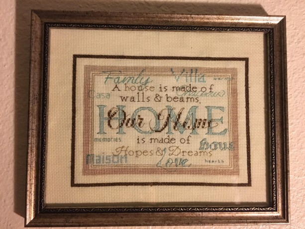 Our Home cross stitched wall decor
