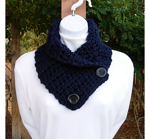 Dark Navy Blue Mens Womens Crochet Neck Warmer Scarf Aftcra