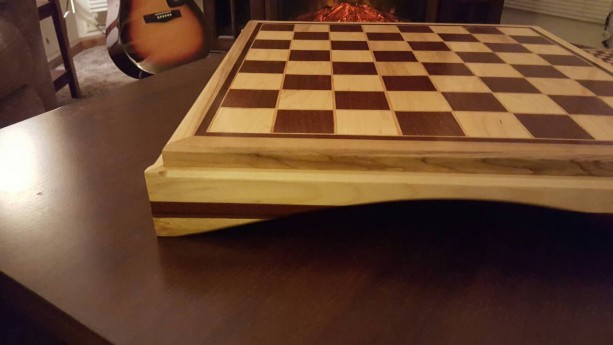 Chessboard made from maple and ipe with oak and ipe inlays