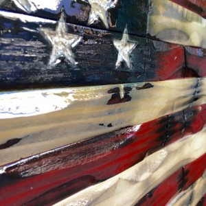 Rustic twisted American flag.