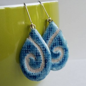 Teardrop Earrings Denim Swirl Mosaic Tile with Gray Grout