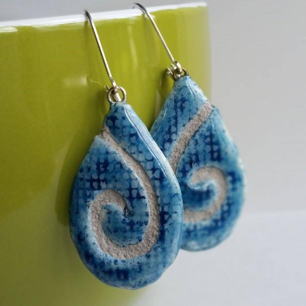 Teardrop Earrings Denim Swirl Mosaic Tile with Gray Grout
