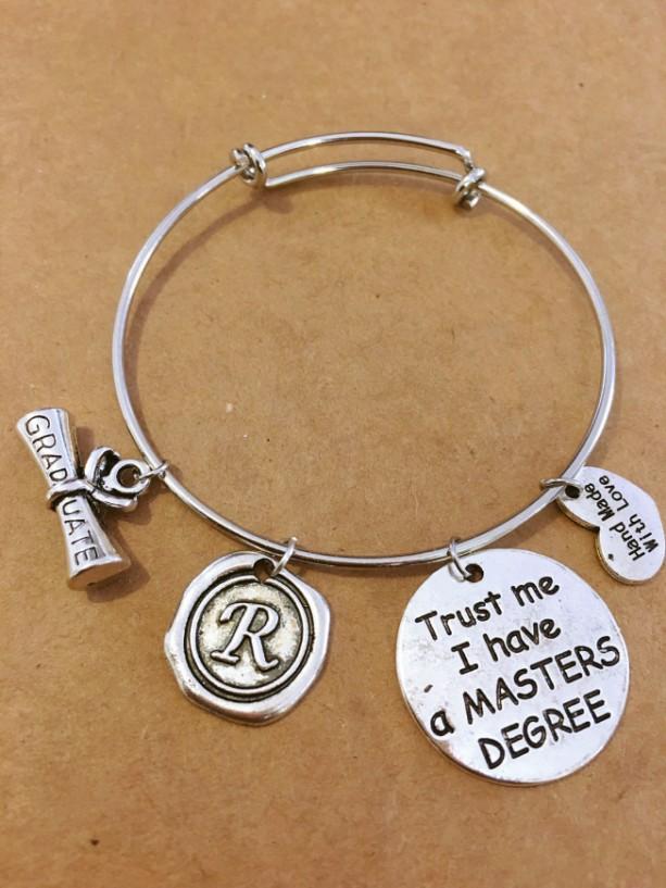 Gift for a master's degree graduate charm bracelet