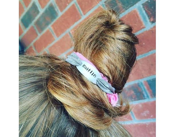 Personalized Hair Tie - FOE Hair Tie - Hair Tie Bracelet - Hand Stamped Hair Tie - Stamped Jewelry - Tag Hair tie - Hair tie Jewelry