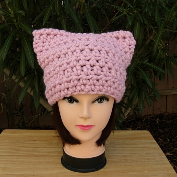 Light Pink Pussy Cat Hat with Ears, Handmade Soft Warm Wool Blend Winter Crochet Knit Solid Pale Pink Beanie, Women's Rights 2017, Ready to Ship in 2 Days