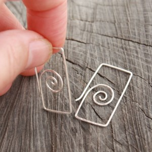 Sterling Silver Spiral in Rectangle Earrings