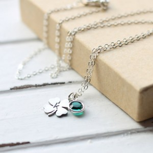 Four Leaf Clover Initial Necklace with Green Swarovski Crystal Birthstone