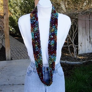 Small Colorful SUMMER SCARF Infinity Loop Cowl, Red Purple Blue Gold Green Crochet Necklace, Women's, Skinny Knit Cowl, Ready to Ship in 2 Days