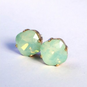 Mint Opal Swarovski Crystal Stud Earrings