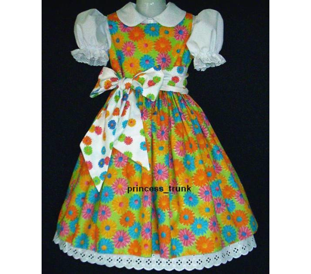 NEW Handmade Unique Design Daisy On Lime Easter/Summer Dress Custom Sz 12M-14Yrs
