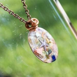 "Orgonoite® ""Star Born"" Pendant with Pink Opal, Epidote, Pink Tourmaline - Orgone Necklace - 528hz"
