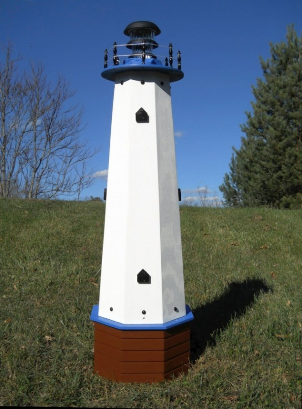 "48"" Solar lighthouse wooden well pump cover decorative garden ornament - blue accents"