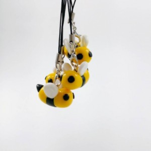Bumble Bee Charm with strap to attach to Backpacks, Cellphones, Zippers and more!