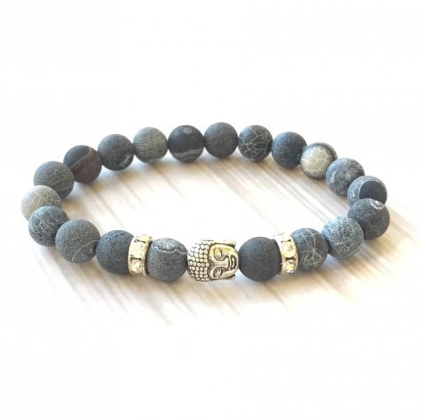 Buddha & Crackle Agate Bracelet