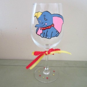 Painted Glass Dumbo the Elephant Stemware  12 oz Wine Glass