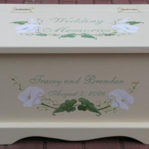 Wedding keepsake chest memory box card box - Calla Lily wedding gift