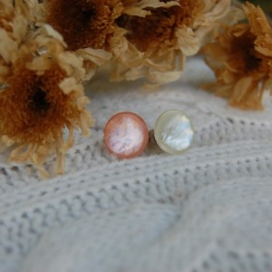"Mismatched ""Shell"" Button Stud Earrings - Pink with White"