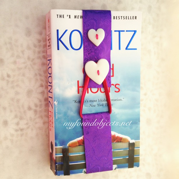 Bookmark, Purple Floral Ribbon & White Heart Buttons